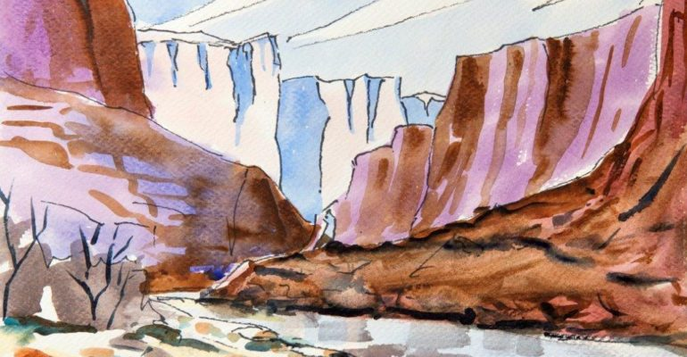An undated Cliff Segerblom watercolor
